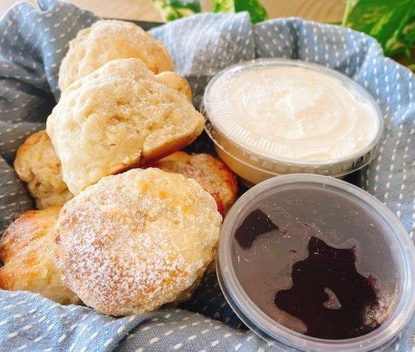 Plain Scones with Jam and Cream